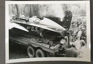 "1950's MISS U.S. original 5"" x 3.5"" SNAPSHOT photo Hydroplane race boat"