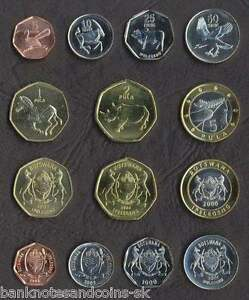 BOTSWANA COMPLETE FULL COIN SET 5+10+25+50+1+2+5 Pula 2000-2007 UNC LOT of 7