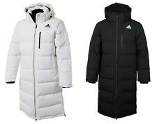 Adidas Men Long Bench Down Coat Padded Jacket Black White Warm Parka Coat CK0978