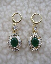 18K Yellow Gold Filled Earrings with Emerald Colour Zircon - NEW.