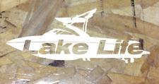 """Lake Life Truck Window Inboard Sticker Ski Boat Wake Malibu Die Cut White 10"""""""