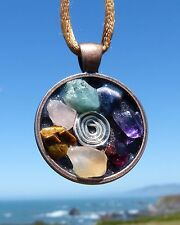 7 Gemstone Positive Energy Pendant with Copper Bezel and Silver Spiral.