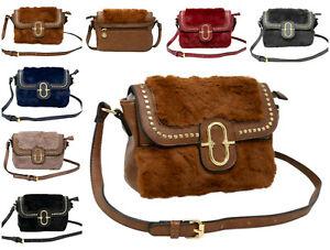 Women Soft Winter Cosy Faux Fur Medium Crossbody Bag C061 Shoulder Handbag Tote
