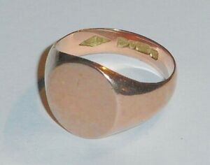 9CT ROSE GOLD GENT,S CHESTER HALL MARKED 1921 SIGNET RING SIZE O WEIGHT 5 GRAM,S