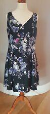 DKNY Black A line Party Dress Blue & Pink Floral BNWT UK Size 18-20