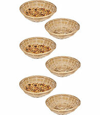 Set Of 6 Vintage Round Natural Bamboo Wicker Bread Basket Storage Hamper Trays
