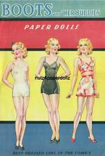 Vintge 1943 Boots Her Buddies Paper Doll ~Saalfield~ Nice Uncut Laser Reprodctin