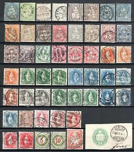 SWITZERLAND 1850s-1890s - Collection 50 stamps
