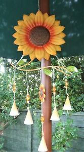 LARGE SUNFLOWER WINDCHIME * GARDEN ORNAMENT *  GENTLE & SOOTHING SOUND