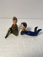 Vintage Enesco Japan Two Boy Scout's Ceramic Figurines Hand Painted