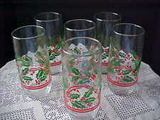 Christmas Glasses Tumblers 6 Total Holly and Berry Script L Bottom Libbey