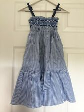 Jacadi Striped White Blue Summer Dress Size 4A