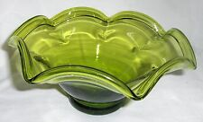 Fruit Bowl Fluted Emerald Green Glass Collectible