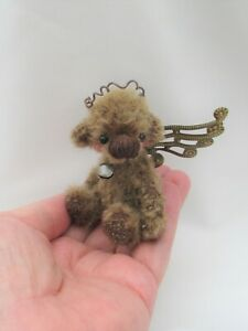 *LITTLE RUSTIC ANGEL *A CUTE 4 INCH  JOINTED MOHAIR  BEAR*