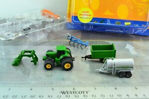 Bruder KEYCHAIN Diecast Metal JOHN DEERE Double Wheels Tractor + Trailers Set