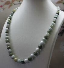 100% Natural (Grade A) Untreated Multi-Color Jadeite Jade Round Beads Necklace