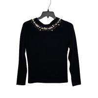 Oscar de la Renta Women's V-Neck Sweater Black Size XS Wool Silk Winter Fall