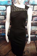 COAST BLACK DIAMANTE ASYMMETRIC NECKLINE STRETCH PENCIL/WIGGLE DRESS Size 12