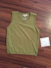 NWT Trish Scully child Girls Pearl embellished sleeveless cotton blend top XL