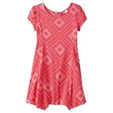 Mudd Girls Pink & Orange Geometric Floral Handkerchief Hem Dress Girl Size 8 NEW