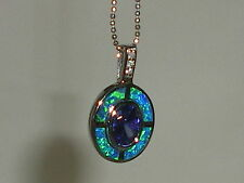 Ladies Art Deco Sterling 925 Silver Opal Sapphire & Tanzanite Target Pendant