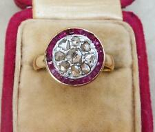 Superb 18ct and white gold ruby and rose diamond edwardian target 18k ring