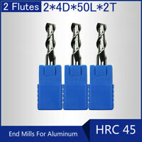 HRC45 2 Flutes 2MM Solid Carbide End Mills For Aluminum L 50MM