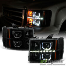 Blk Smoke 2007-2013 GMC Sierra 1500 2500 LED Halo Projector Headlights Headlamps