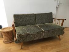 Canapé scandinave vintage 70 bois/tissu vert texturé chenille convertible lit