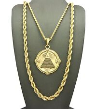 """New Eye of Pyramid Pendant & Rope Chain /30"""" Rope Chain Necklace Set - RC1881G"""