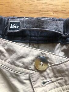 REI Cargo Convertible Nylon Hiking Pants (Mens L-30L) Tan