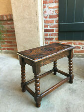 Antique English Carved Oak Foot Stool Bench Kettle Stand Display Bobbin