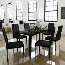 vidaXL 7 Piece Dining Set Black Faux Leather Furniture Dinner Table and Chair