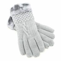 NEW Women's Knit Winter Gloves w/ Fur lining Warm Lady Girl Thick Heavy Duty