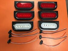 "6 LED 6"" Oval Truck/Trailer S/T/T red w/ red lens and backup Lights"
