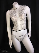 Victoria's Secret Chantilly Lace High-neck Bustier 34C & Thong M *WHITE*NWT*