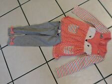 Nanette Kids Brand 2-Piece Pant Set Sz 5 Toddler Girls Peach, Gray, White