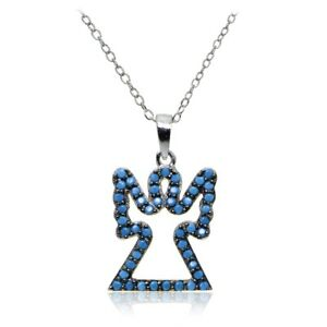 Sterling Silver Nano Simulated Turquoise Angel Necklace