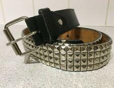 "Vintage Black Faux Leather Belt Silver Chrome Studded & Buckle 38""- 42"" Waist L"