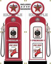 GAS PUMP SET TEXACO BANNER STATION SHOP GARAGE SIGN ART 2- 2' X 5' WHITE BACK