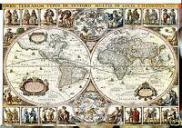 vintage  WORLD map  GLOBE ATLAS POSTER PRINT ANTIQUE OLD
