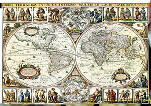 vintage  WORLD map  GLOBE ATLAS POSTER A1 SIZE PRINT art poster painting