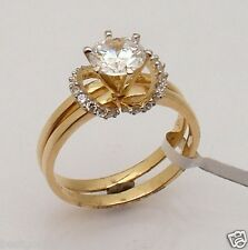 1.25ct  Size 8 Wedding Engagement CZ Band Ring Set Real 14K Yellow Gold