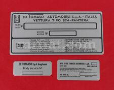 De Tomaso Pantera ID Tag Set New