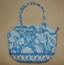 Vera Bradley Blue Lagoon Purse Bag Tote, Blue, White, Handles