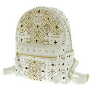 MCM Backpack PVC Coated Canvas/Leather White