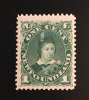 Stamps Canada Newfoundland Sc44 1c deep green Prince of Wales-See description