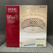 Home Decorators 15 in. 5-Light Brushed Stainless Steel Round Flush Mount