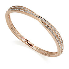 Rose Gold Crossover Bangle with Crystals from Swarovski®
