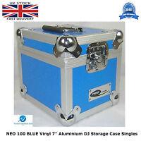 "2 X NEO Aluminium BLUE DJ Flight Case to Store 100 Vinyl Single 7"" Record STRONG"